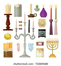 Vector hanukkah menorah candles decorative wax candlestick set cartoon candlelight flame christmas or jewish hanukah holiday decoration illustration.