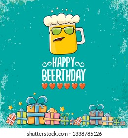 vector happy birtday greeting card with beer mug and text Happy Beerthday . Happy birthday party celebration poster with funky beer character and gifts