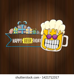 vector happy birtday greeting card with beer mug and text Happy Beerthday on wooden background. Happy birthday party celebration poster with funky beer character and gifts