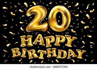 vector happy birthday 20 years golden twenty balloon anniversary logo celebration with confetti
