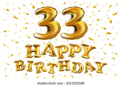 vector happy birthday 33d celebration gold balloons and golden confetti glitters. 3d Illustration design for your greeting card, invitation and Celebration party of thirty three 33 years