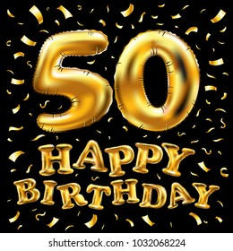 vector happy birthday 50th celebration gold balloons and golden confetti glitters. 3d Illustration design for your greeting card, invitation and Celebration party of fifty 50 years