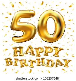 vector happy birthday 50th celebration gold balloons and golden confetti glitters. 3d Illustration design for your greeting card, invitation and Celebration party of fifty 50 years art