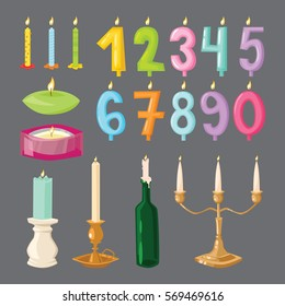 Vector happy birthday candle and age numbers colorful cute cartoon style vector isolated on white. Different candlelight and party design elements