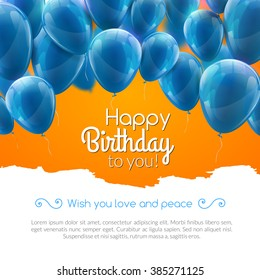 Vector happy birthday card with blue balloons confetti, party greeting invitation background