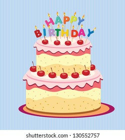 Vector Happy Birthday Card Birthday Cake Stock Vektorgrafik