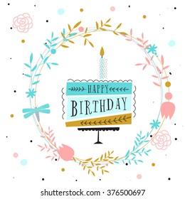 Vector happy birthday card. Birthday cake. Vector Illustration
