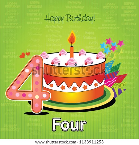 Vector Happy Birthday Card Cake Numbers Stock Vector Royalty Free