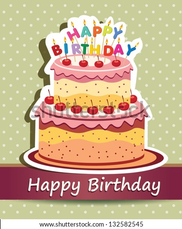 Vector Happy Birthday Card Birthday Cake Stock Vector Royalty Free