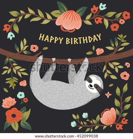 Vector Happy Birthday Card Cute Sloth Stock Vector Royalty Free