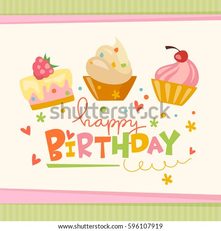 Vector Happy Birthday Card With Cute Cakes Sweets And Cool Lettering