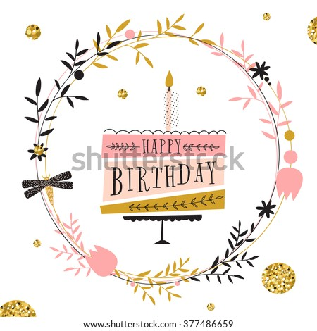 Vector Happy Birthday Card Modern Hipster Stock Vector Royalty Free