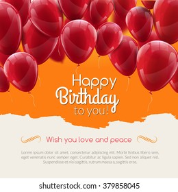 Vector happy birthday card with red balloons, party invitation. Birthday balloons