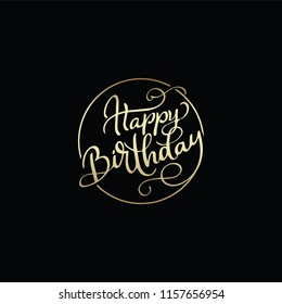 Vector Happy Birthday hand lettering for greeting or invitation card. Holiday typography poster, 5k