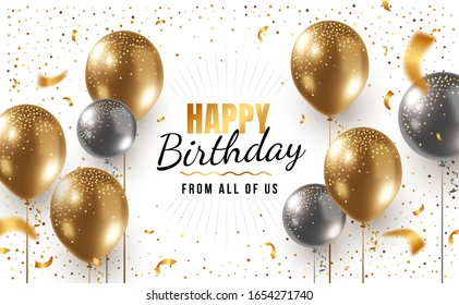 Vector happy birthday horizontal illustration with 3d realistic golden and silver air balloon on white background with text and glitter confetti. Holiday design for greeting card, party poster,  web