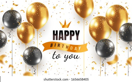 Vector happy birthday horizontal illustration on white background with 3d realistic golden and black air balloon with text and glitter confetti. Holiday design for greeting card, party banner