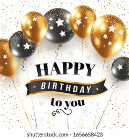 Vector happy birthday illustration with 3d realistic bunch of golden and black air balloon on white background with text and glitter confetti. Holiday design for greeting card, party poster, banner