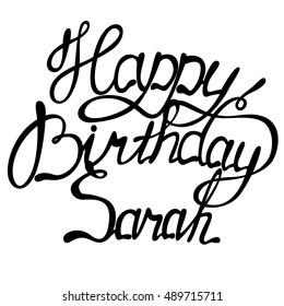 Vector happy birthday Sarah lettering