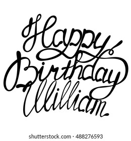 Vector happy birthday William lettering