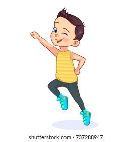 Vector happy boy is jumping up with an outstretched hand, clenched into a fist. Funny cutout sports child character.