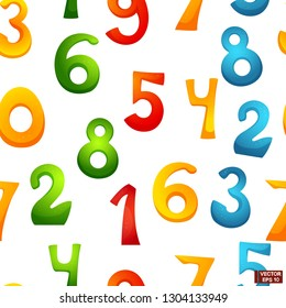 Vector happy cartoon characters numbers of smiling digits with waving hands. Seamless pattern of funny numbers. School life and mathematics.