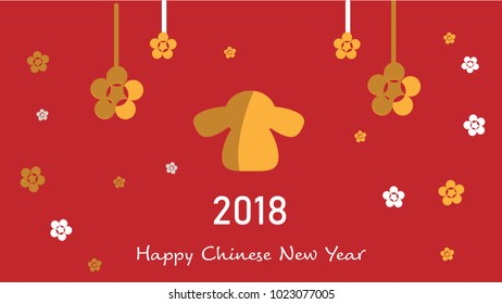 Vector of Happy Chinese New Year 2018 card with gold dog illustration on red background.Holidays concept.