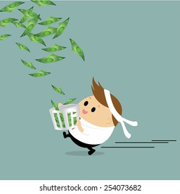 Vector of Happy Chubby Businessman running with the bucket to collect the rain of money concept success, winner