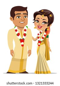 A vector of a happy couple from the south Indian state of Kerala (Keralite) who are recently married and are wearing traditional marriage outfit (Mundu, lungi, saree), jewelry and flower garlands.