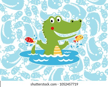 Vector of happy crocodile cartoon with fishes on seamless pattern background