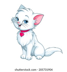Vector happy cute fun white kitten cartoon smiling character cat with red pink heart illustration isolated on white background