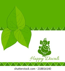 Vector happy diwali background with betel leaf and lord ganesh