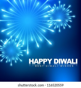 vector happy diwali fireworks background