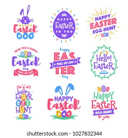 Vector happy easter day emblem set colorfull typography style for greeting card text templates, label, badges, decoration, sale banner, party, poster, promotion, tag, decoration. Vector Illustration