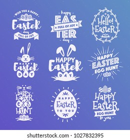 Vector happy easter emblem set typography white style isolated on background for greeting card text templates, label, badges, decoration, sale banner, party, poster, promotion, tag, decoration