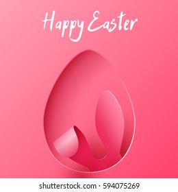 Vector Happy Easter Greeting Card with Color Paper Easter Ears on Pink  Background