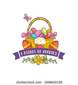 Vector Happy Easter Label. Cute basket of goodies spring Badge with eggs, flowers, leaves and phrase. Vector Template for Greetings on white background