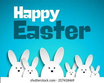 Vector - Happy Easter Rabbit Bunny on Blue Background