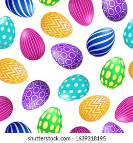 Vector Happy Easter seamless pattern with 3d realistic decorated eggs on white background. Colorful festive backdrop for design, decoration, event. Vector card, promotion, poster, flyer, web.
