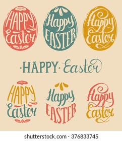 Vector Happy Easter type cards in the egg shape. Religious holiday vector illustrations for posters, flyers.