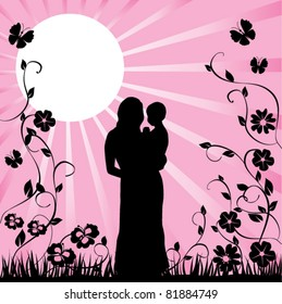 vector happy family with floral background
