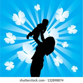 vector happy family mother holding a child on background with sunburst and butterflies