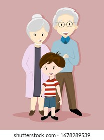 Vector of a happy family smiling for a family photo