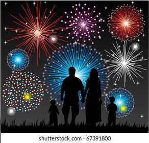 vector happy family watching fireworks