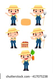 Vector Happy Farmer Character with Some Objects isolated on White Background
