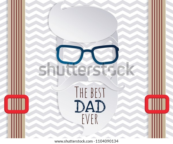 Vector Happy Fathers Day or  Fathers birthday card in paper cut style design for male event, banner or poster.