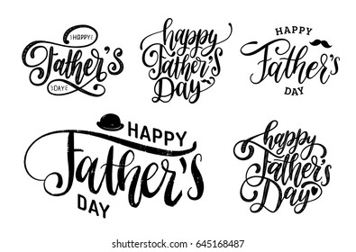 Vector Happy Fathers Day calligraphic inscriptions set for greeting card, festive poster etc. Hand lettering collection on white background.