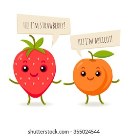 vector happy flat fruits with balloons. strawberry and apricot