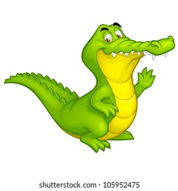 Vector happy fun crocodile cartoon smiling alligator character toy illustration isolated on white background