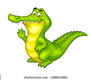 Vector happy fun crocodile cartoon smiling alligator character illustration isolated on white background