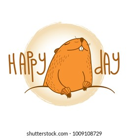 Vector Happy Groundhog day card with outline cute brown groundhog or marmot or woodchuck isolated on white background. Forecast spring animal in contour style for greeting design.